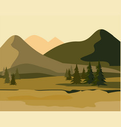 layers of mountain landscape with fir forest vector image