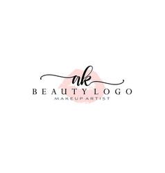 Letter ak watercolor lips premade logo design vector