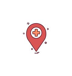 location travel marker hospital icon desige vector image