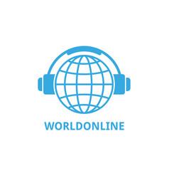 logo world globe in headphones concept work vector image