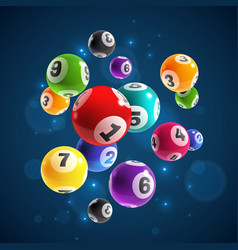 lottery numbers flying realistic drawing lottery vector image