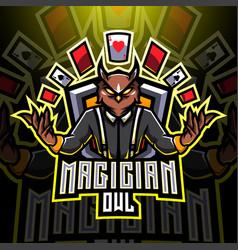 Magician owl esport mascot logo vector
