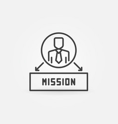 man with mission concept icon in outline vector image