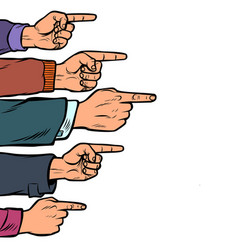 many hands point finger isolate on white vector image