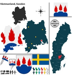 Map of Vastmanland vector image