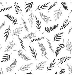 Monochrome leaves pattern vector