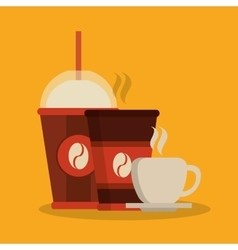 Mug and cup of coffee shop design vector