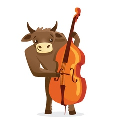 Musical animals Bull Bass vector image