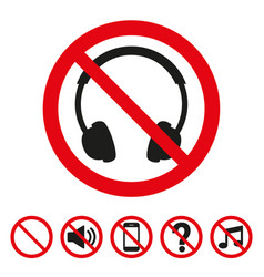 No headphones sign on white background vector