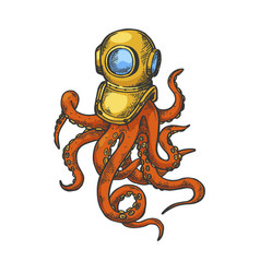 octopus and old diver helmet color sketch vector image