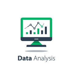 online analytics computer monitor and diagram vector image