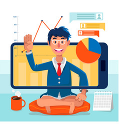 Online presentation working from home remote work vector