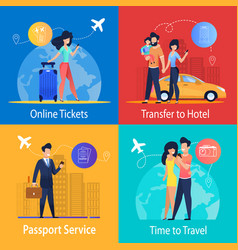 online tickets transfer to hotel passport service vector image