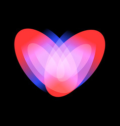 passionate adult love icon glowing heart vector image