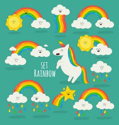 rainbow among clouds and unicorn vector image