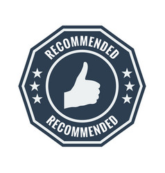 recommended black flat badge vector image