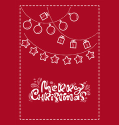 red xmas scandinavian greeting card with merry vector image