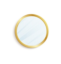 Round mirror with golden circle frame isolated on vector