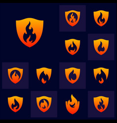 set fire shield logo design template shield vector image