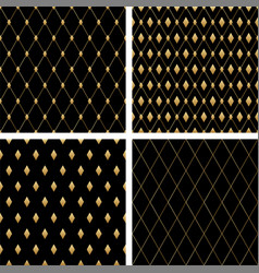 set luxury seamless patterns dark vector image