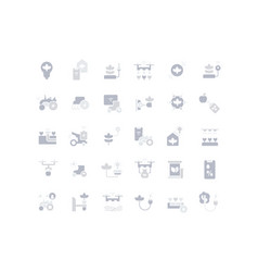 Set simple icons agriculture technology vector