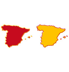 simplified map spain outline fill and stroke vector image