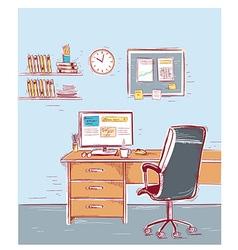 sketchy color office interior room vector image