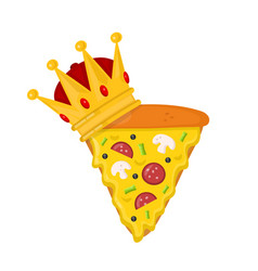 slice pizza with crown flat cartoon vector image