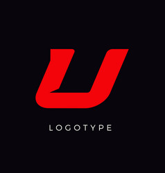 Speed letter u red race monogram logo italic vector