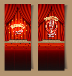 Stand-up comedy show banner set vector