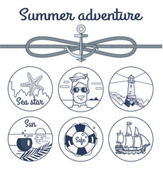 summer adventure monochrome poster with anchor vector image