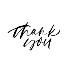Thank you handwritten ink pen lettering vector