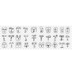 various face features doodle set vector image