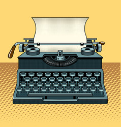 Vintage mechanic typewriter pop art style vector
