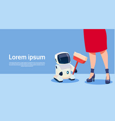 Woman with modern robot cleaner futuristic vector