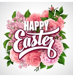 Easter greeting with flowers vector image