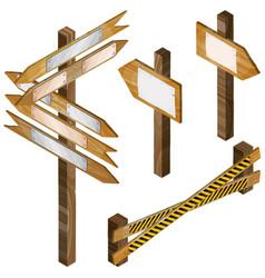 Fence wooden signboards arrow sign set vector
