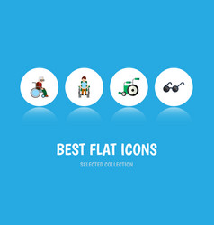 flat icon cripple set of equipment disabled vector image vector image