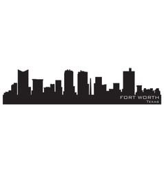 fort worth texas skyline detailed silhouette vector image