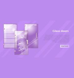 glass doors conceptual flat web banner vector image