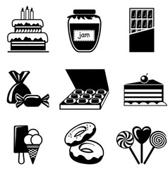 Set confection icons vector