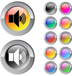 Sound multicolor round button vector image vector image