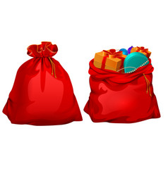 full gift open and closed santa claus red bag vector image