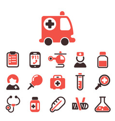 health medical emergency icons healthcare vector image vector image