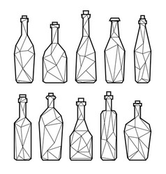 set of triangle alcohol bottles vector image