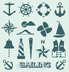 Set Sailing Icons and Symbols vector image vector image