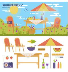 summer picnic in the garden vector image vector image