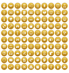 100 programmer icons set gold vector image vector image