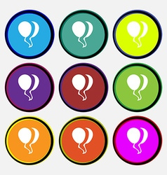 Balloon Icon sign Nine multi colored round buttons vector image