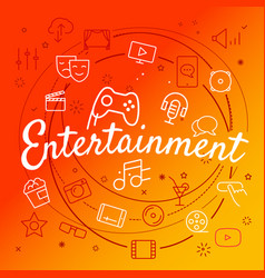 entertainment concept different thin line icons vector image vector image